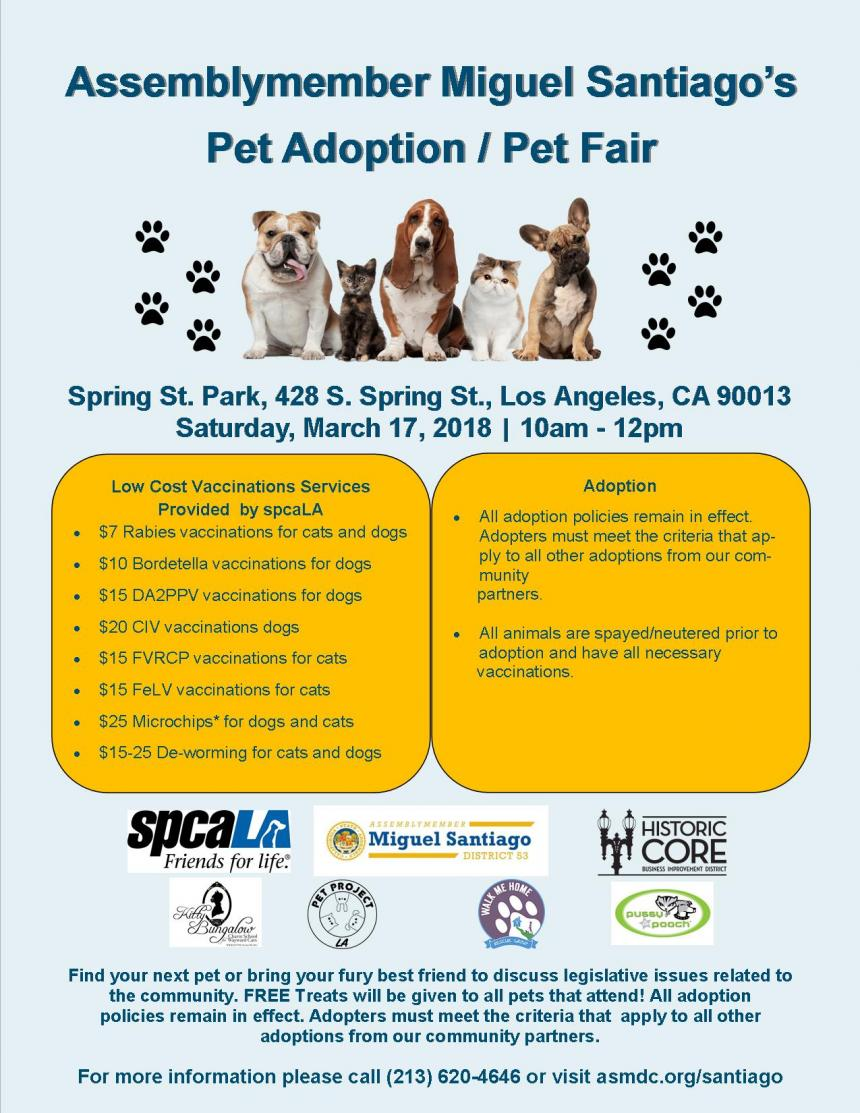 Pet Adoption Pet Fair Official Website Assemblymember Miguel
