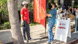 Assemblymember Miguel Santiago joins Red Cross & AmeriCorps volunteers and other local groups to provide food & Disaster Preparedness / COVID-19 awareness