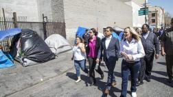 Asm. Santiago walks through Skid Row